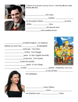 C'EST vs IL EST French worksheet 2