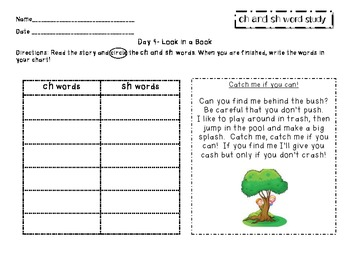 ch and sh diagraph word study packet