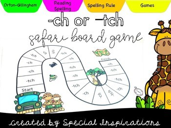 ch or tch? Safari Themed Board Game Orton-Gillingham Inspired