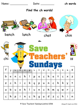 ch phonics worksheet - word search / wordsearch