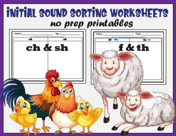 ch & sh; f & th- Sorting Worksheets