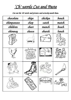 'ch' sound cut and paste activity
