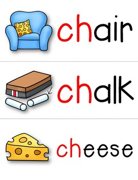ch and tch Digraph Word Cards