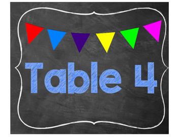 chalkboard table labels 1-7