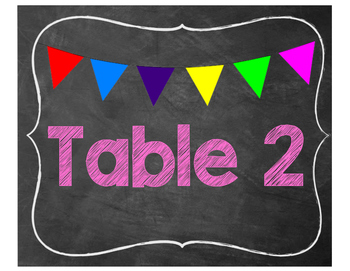 chalkboard table labels 1-7