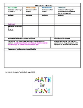 chapter 1 Lesson 11 Grade 5 Go Math Lesson Plan