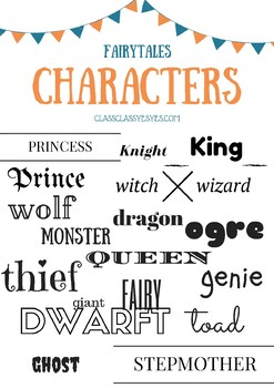 characters vocabulary poster