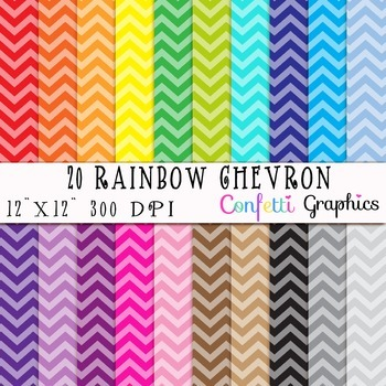 Chevron 20 Digital Paper Set In Rainbow Bright Colors Backgrounds Scrapbooking