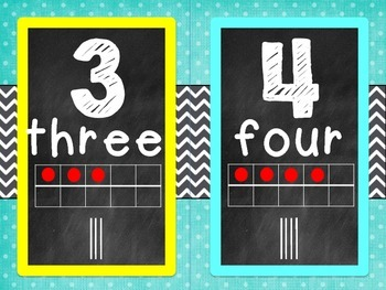 chevron and polkadots number line