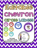 chevron blank editable circular labels 3.5 inches round