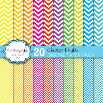 chevron brights digital paper, commercial use, scrapbook papers - PS609