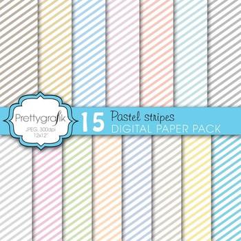 chevron pastels digital paper, commercial use, scrapbook p