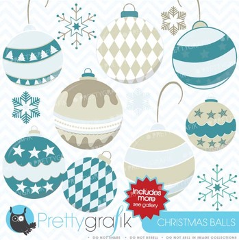 christmas balls clipart commercial use, vector graphics - CL435
