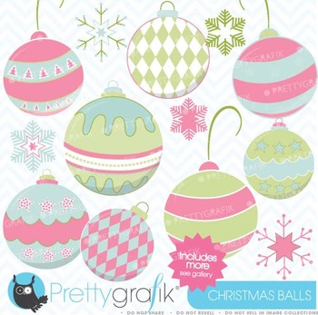 christmas balls clipart commercial use, vector graphics - CL436