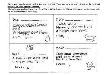 christmas card writing activity