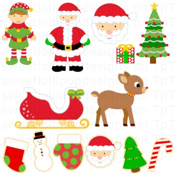 christmas clip art - christmas clipart - santa sleigh elf christmas tree cookies