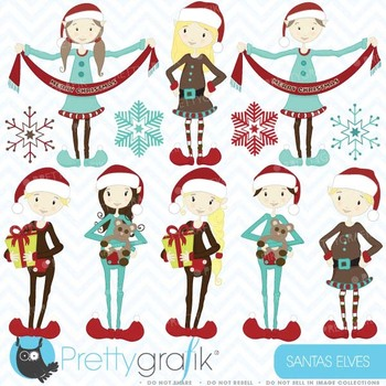 christmas elves clipart commercial use, vector graphics - CL418