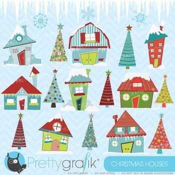 christmas house clipart commercial use, vector graphics - CL414