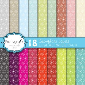 christmas snowflake digital paper, commercial use, scrapbook papers - CL577