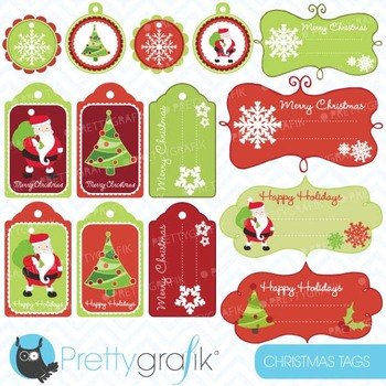 christmas tags label frames clipart commercial use, vector graphics - CL603