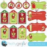 christmas tags label frames clipart commercial use, vector graphics - CL604