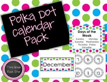 Bright Pink, Green, & Blue Calendar Pack *Back to School*