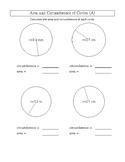 circle circumstance area measurement from radius  exercise