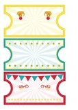 circus ticket themed editable tags