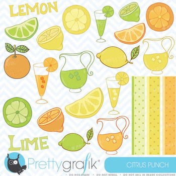 citrus lime, lemon, orange clipart commercial use, vector graphics - CL303