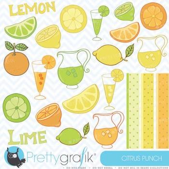 citrus lime, lemon, orange clipart commercial use, vector