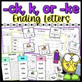 ck, ke, and k Sound Phonics Worksheets and Sort - Distance