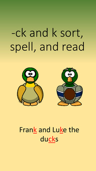 ck & k sort, spell, and read- Multisensory Orton Gillingham and Words Their Way