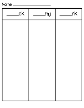 ck, ng, nk Word Sort