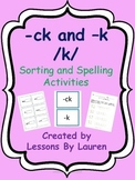 ck or k - sorting and spelling activities