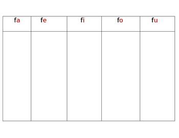 Spanish Letter Ff Syllables:  fa, fe, fi, fo, fu