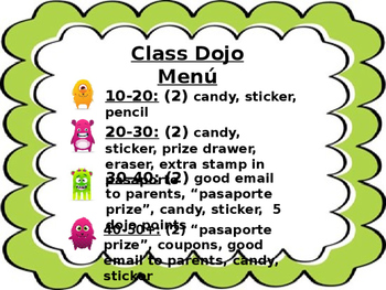class dojo menu prizes