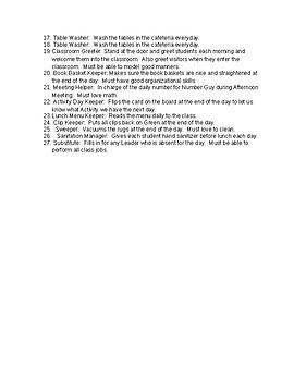 class job description/examples