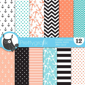 classic coastal digital paper, commercial use, scrapbook papers - PS628