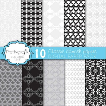 classic damask digital paper, commercial use, scrapbook papers - PS569