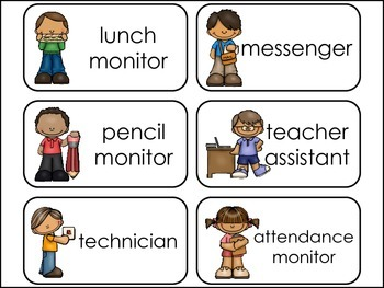 Classroom Jobs Picture Word Flash Cards.