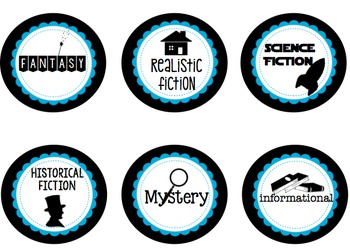 classroom Library Labels - Black & Teal