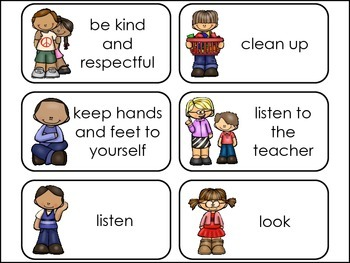 Classroom Rules Picture Word Flash Cards. by Teach At ...