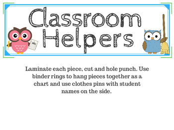 classroom job chart! (owl themed)