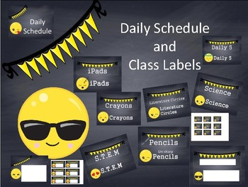 classroom labels and schedule cards emoji theme chalkboard with yellow pennant