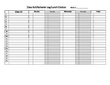 classroom management sheet
