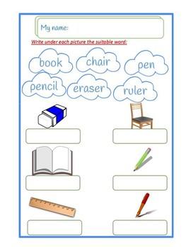 classroom objects vocabulary