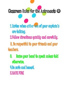 classroom rules for Space themed classroom