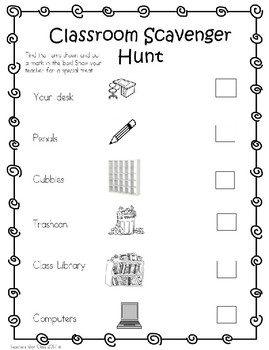 classroom scavenger hunt - easy version