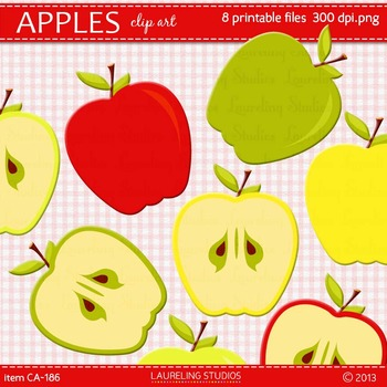 clip art apple in fall colors for back to school
