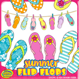 summer flip flop clip art with flipflops on clothesline// 36 .png files